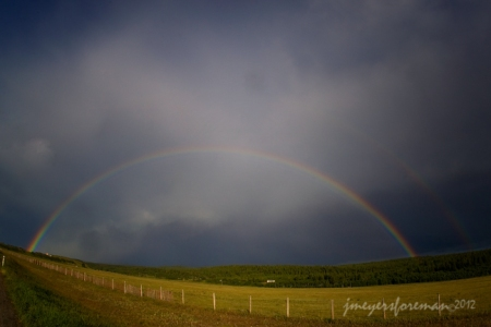 after the storm, prairie rainbow