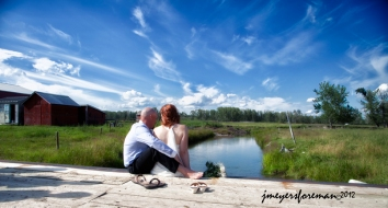 JoAnna and Jeff, enjoying a quiet moment after the wedding.....
