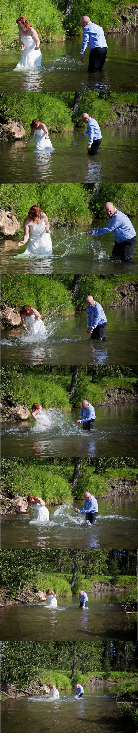 water fight on wedding day