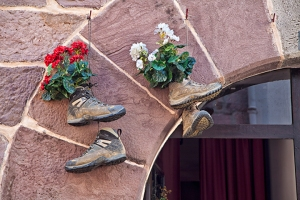 old boots on the camino route. the camino to Santiago de Compostela, Spain.