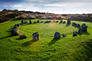 stone circle at sunset, Ireland