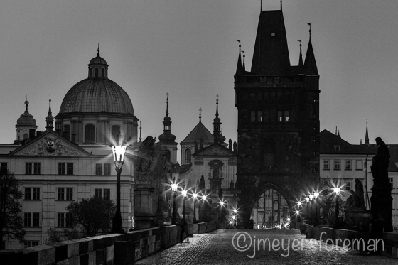 St. Charles Bridge, Prague Hungary at sunrise; copyright jmeyersforeman 2014